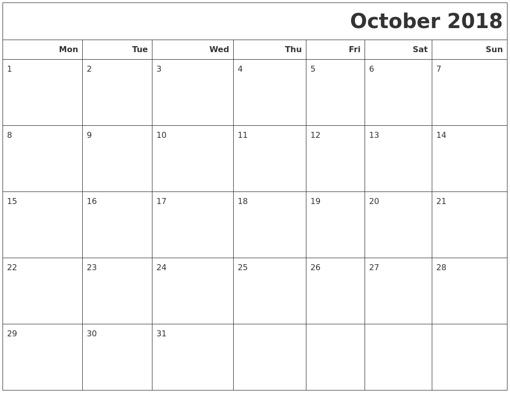 October 2018 Calendar Printable Monday Start | November-Blank Calendar Template Starting With Monday