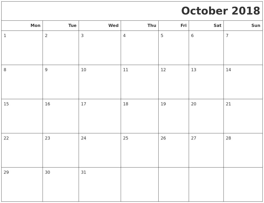 October 2018 Calendar Printable Monday Start | November-Blank Monthly Calendar Starting On Monday
