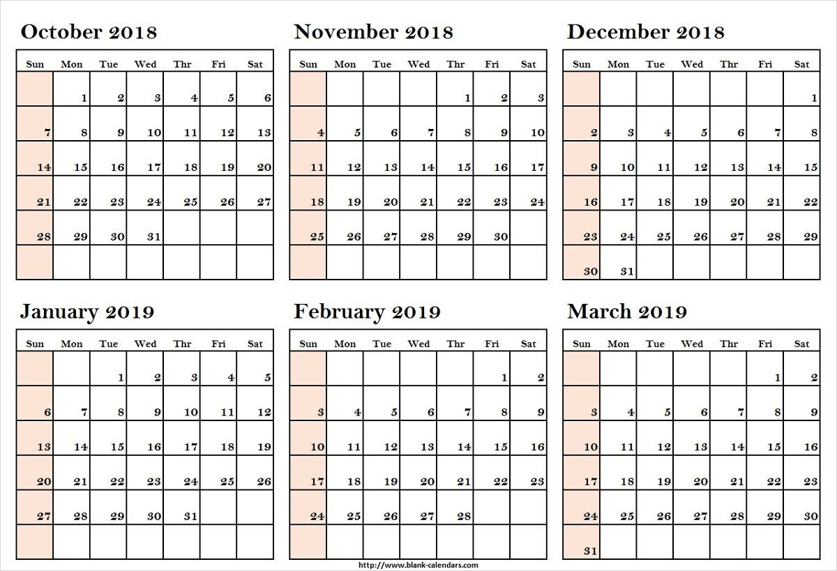 October 2018 To March 2019 Calendar Printableoctober 2018 To-Blank 6-Month Calendar Template