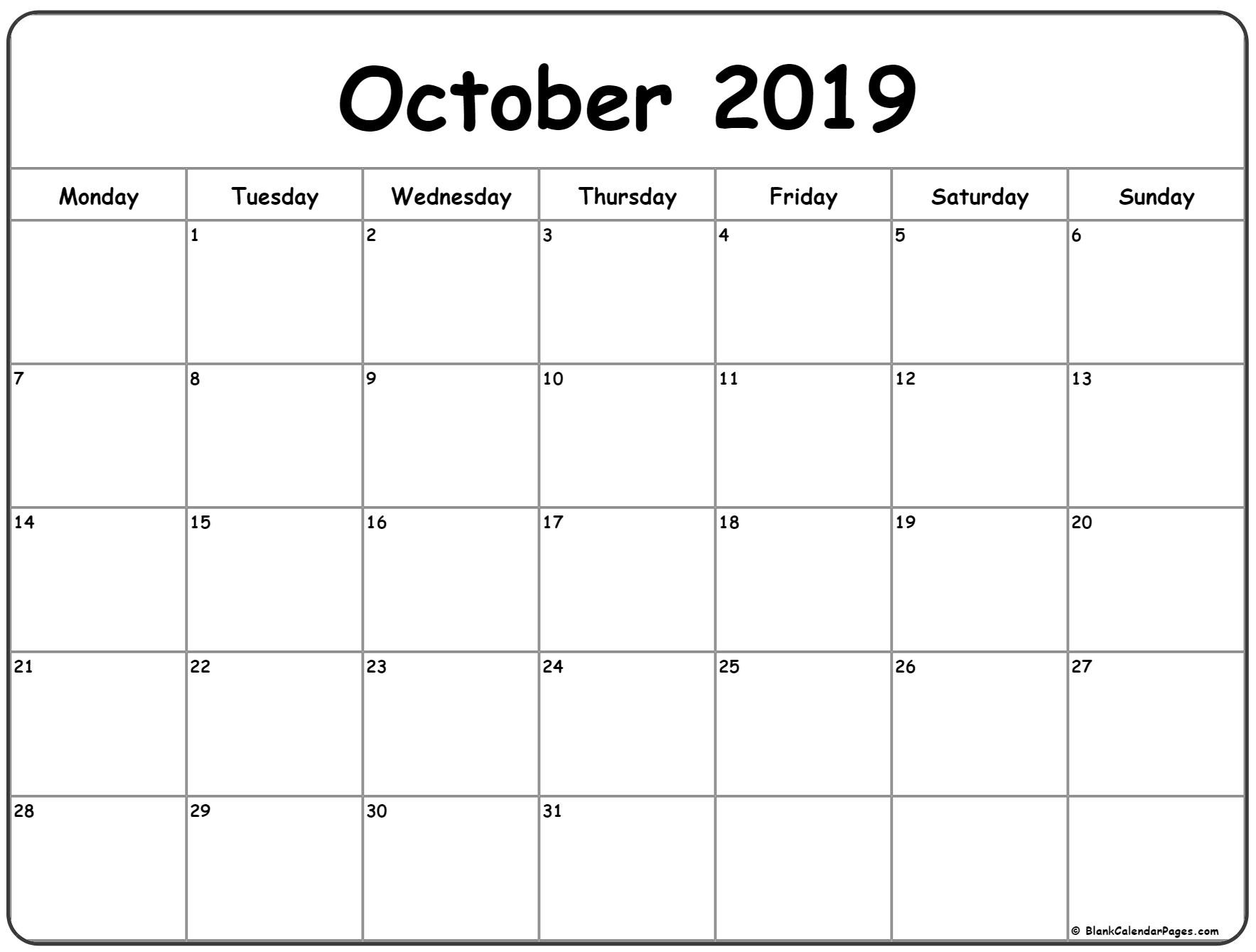 October 2019 Monday Calendar | Monday To Sunday-Blank Monthly Planner Starts On Monday