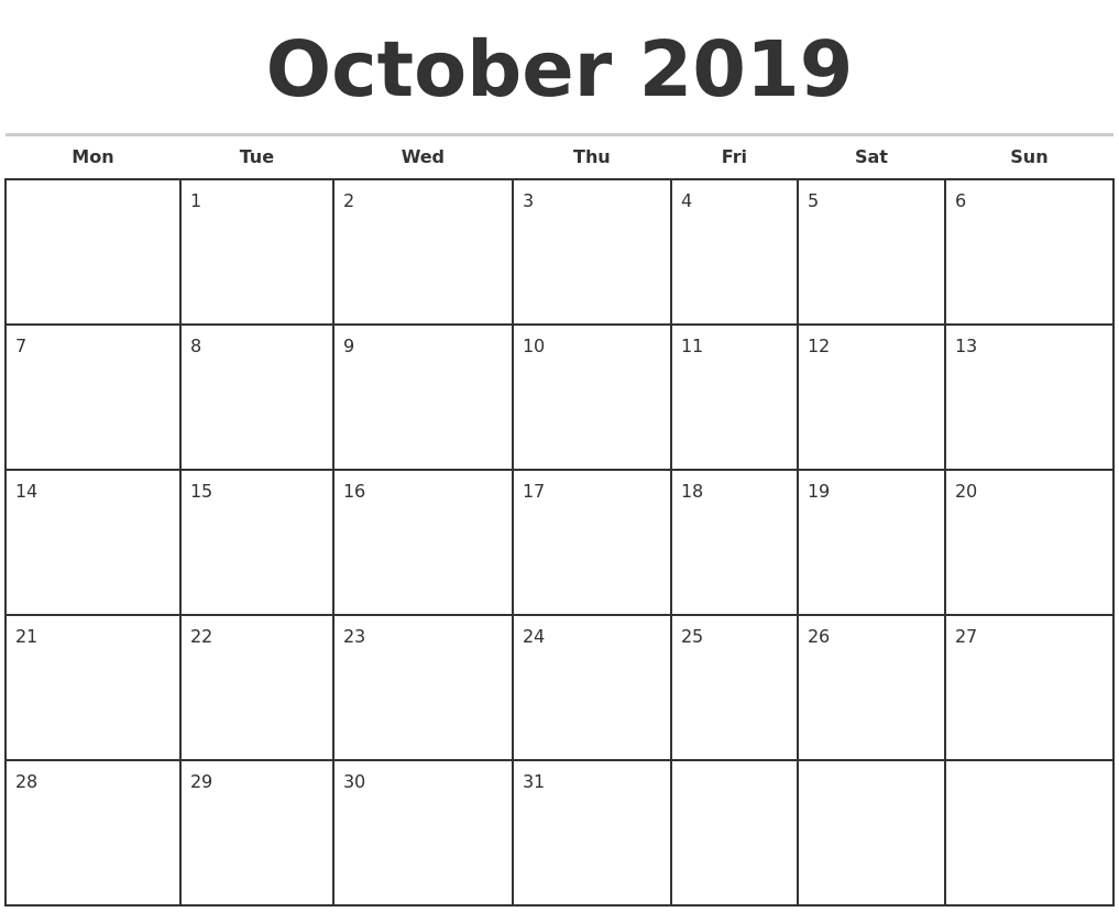 October 2019 Monthly Calendar Template-Printable Monthly Calander Sheets
