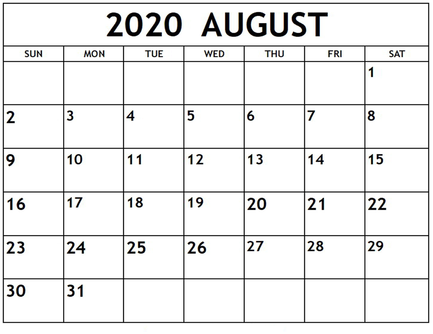 Online August 2020 Calendar Printable Usa School Holidays-Printable Blank Monthly Calendar 2020 August