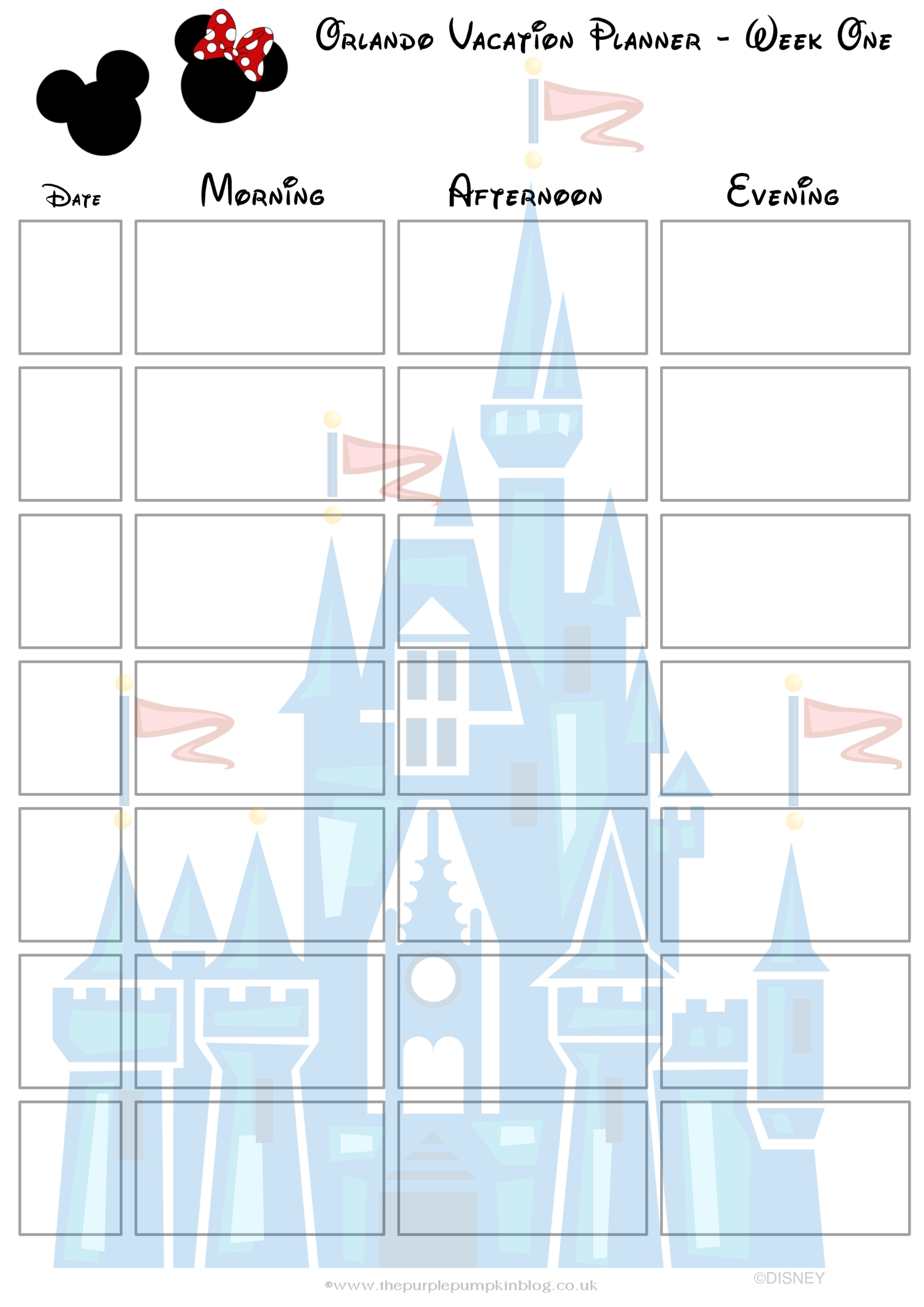 Orlando, Walt Disney World Vacation Planner   Free Printable-Downloadable Disney Itinerary Template