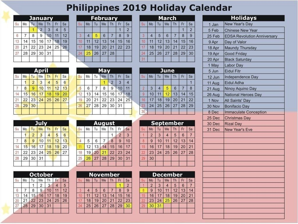 Philippines 2019 Holidays Calendar Printable | Calendar-Holidays To The Philipines In March 2020