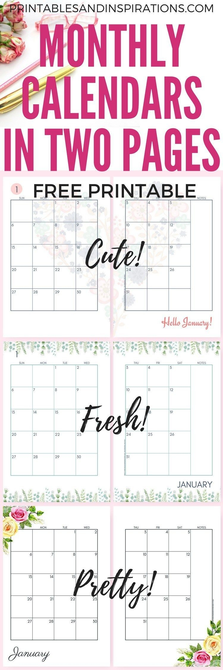 Pin On Printables-Free Two Page Monthly Planner Templates