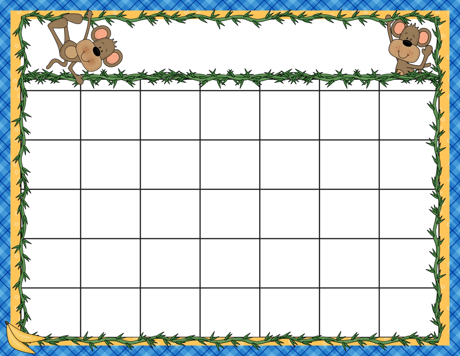 Preschool Calendar Clipart-Blank Preschool Class Calendar