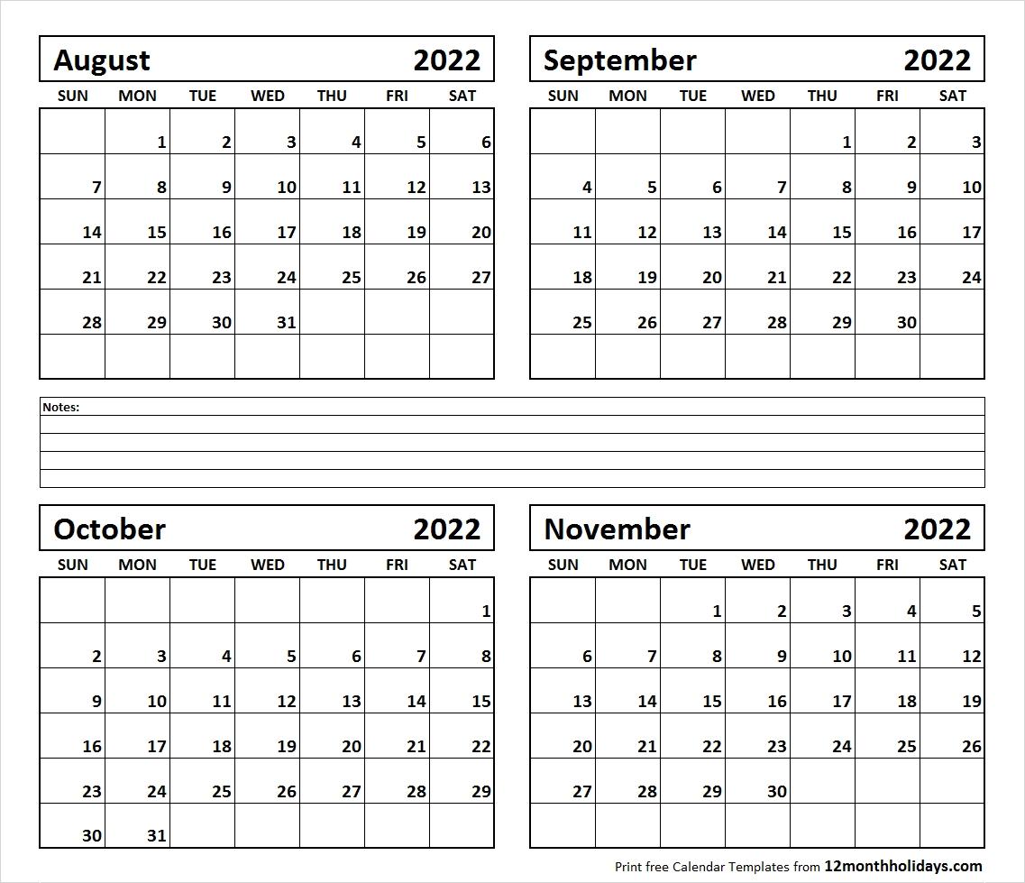 Print Four Month August September October November 2022 Calendar-4 Month Calendar Template