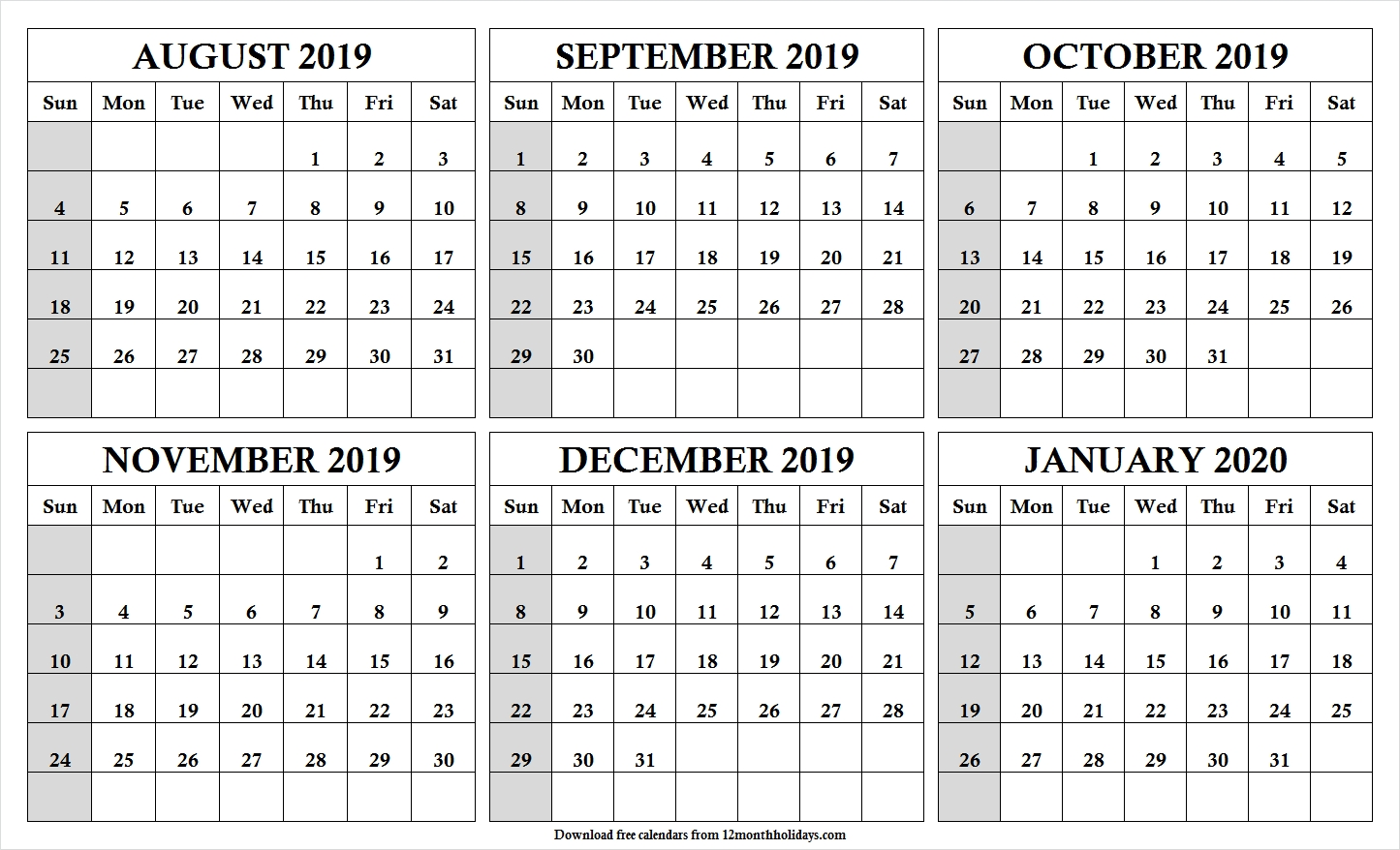 Print Free 6 Month Calendar August 2019 To January 2020 With-Blank Six Month Calendar Printable