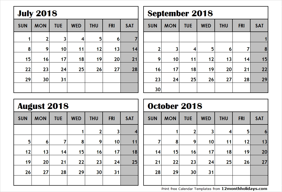 Print July To October 2018 Calendar Template | 4 Month Calendar-Printable 4 Month Calendar Template
