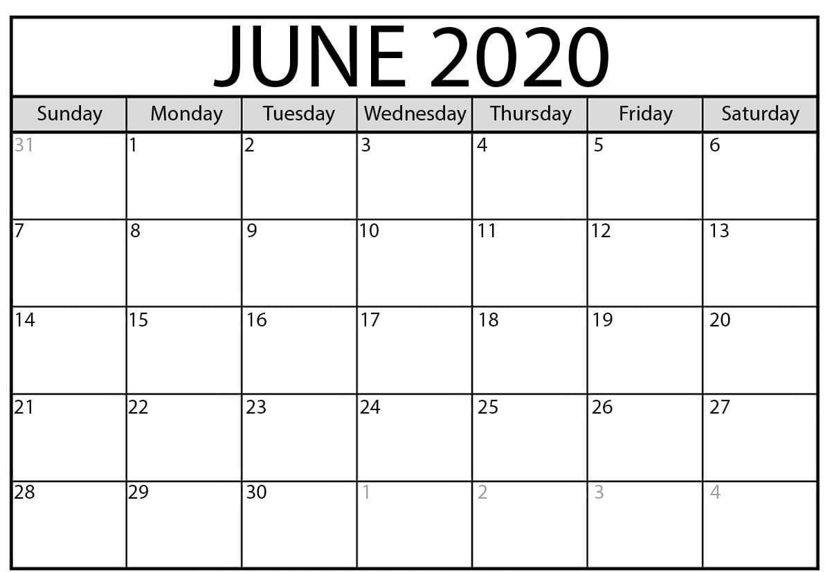 Print June Calendar 2020 Free Blank Editable Template - Pdf-Microsoft Word Calendar Templates 2020 Free