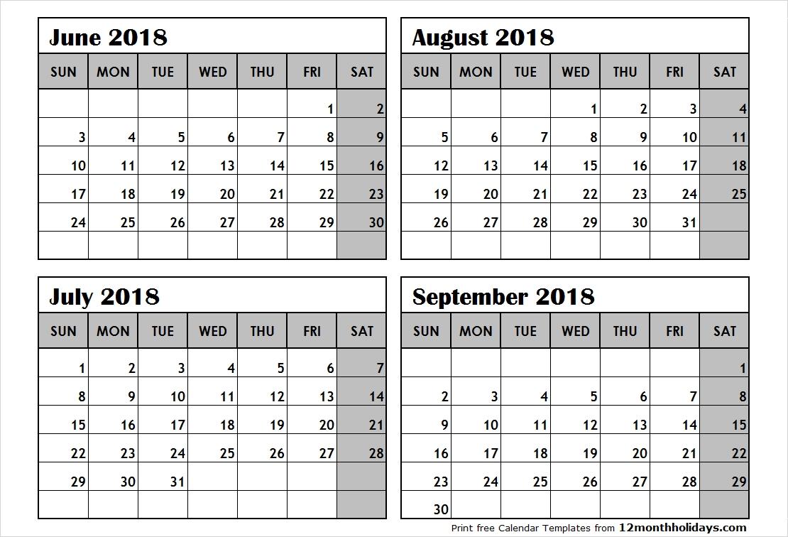 Print June To September 2018 Calendar Template | 4 Month-4 Month Calendar Template