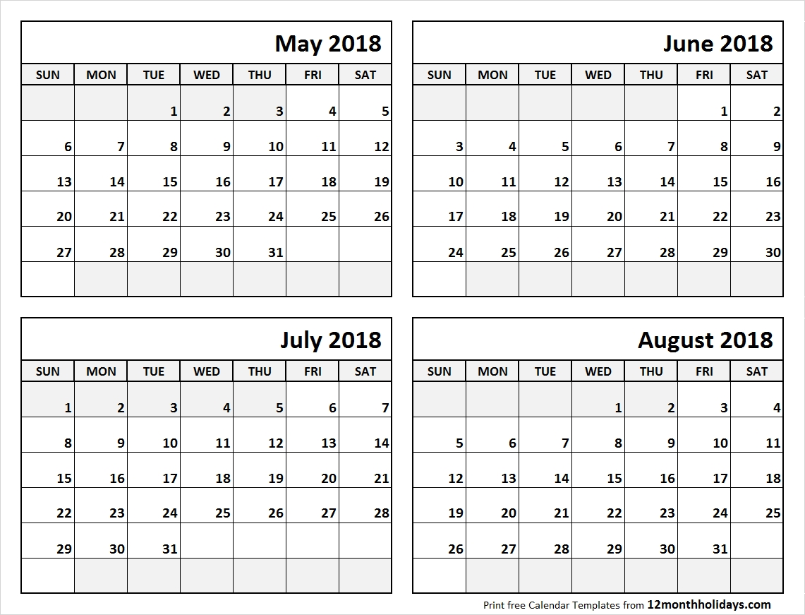 Print May To August 2018 Calendar Template | 4 Month Calendar-Printable 4 Month Calendar Template
