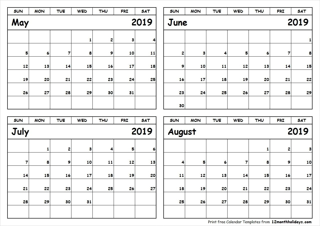 Print May To August 2019 Calendar Template | 4 Month-4 Month Blank Calendar Printable