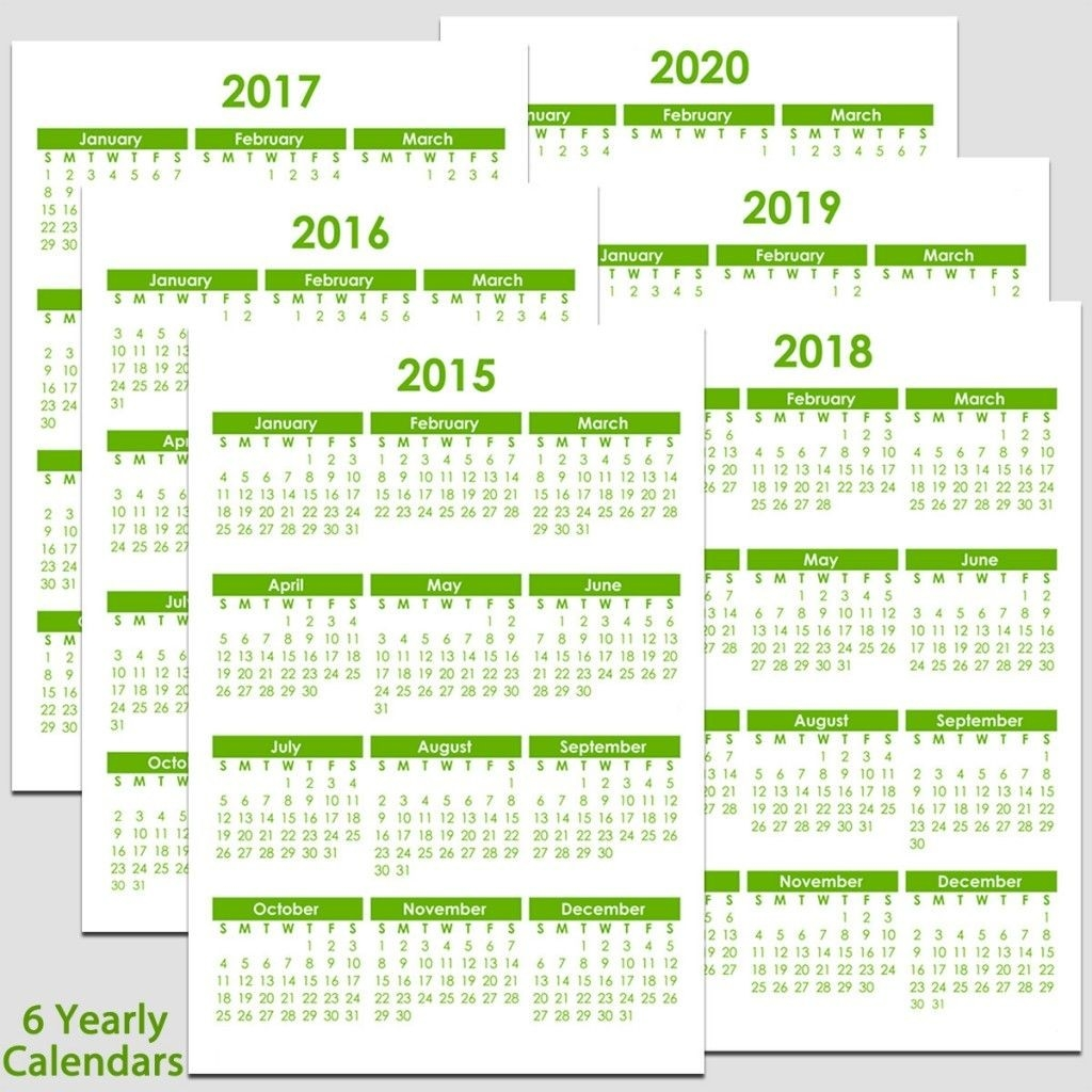Printable 2015 To 2020 Yearly Calendar – 8 1/2″ X 11″. The-Free Blank Printable Calendar Template 81/2X11
