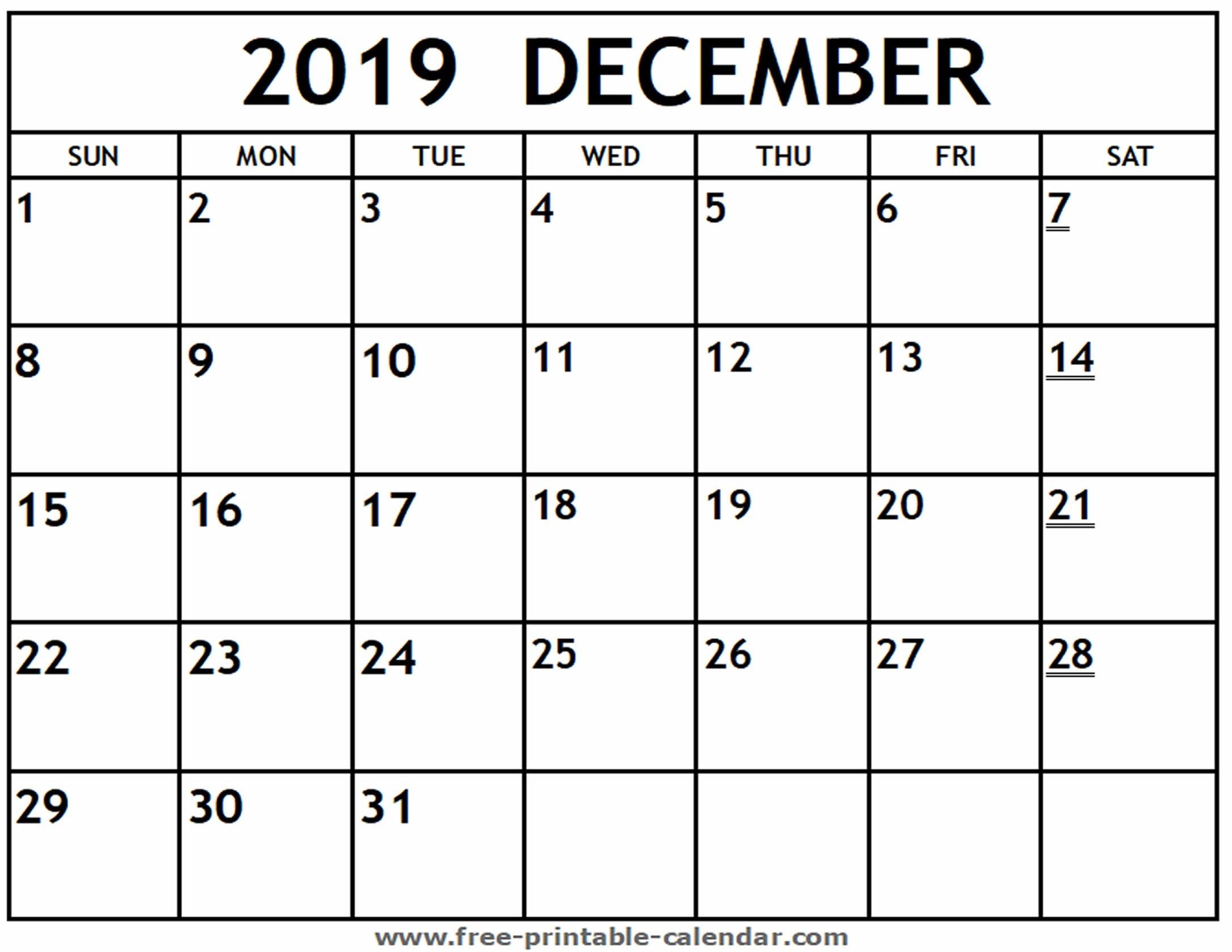 Printable 2019 December Calendar - Free-Printable-Calendar-December Canada Printable Calendar Free Monthly