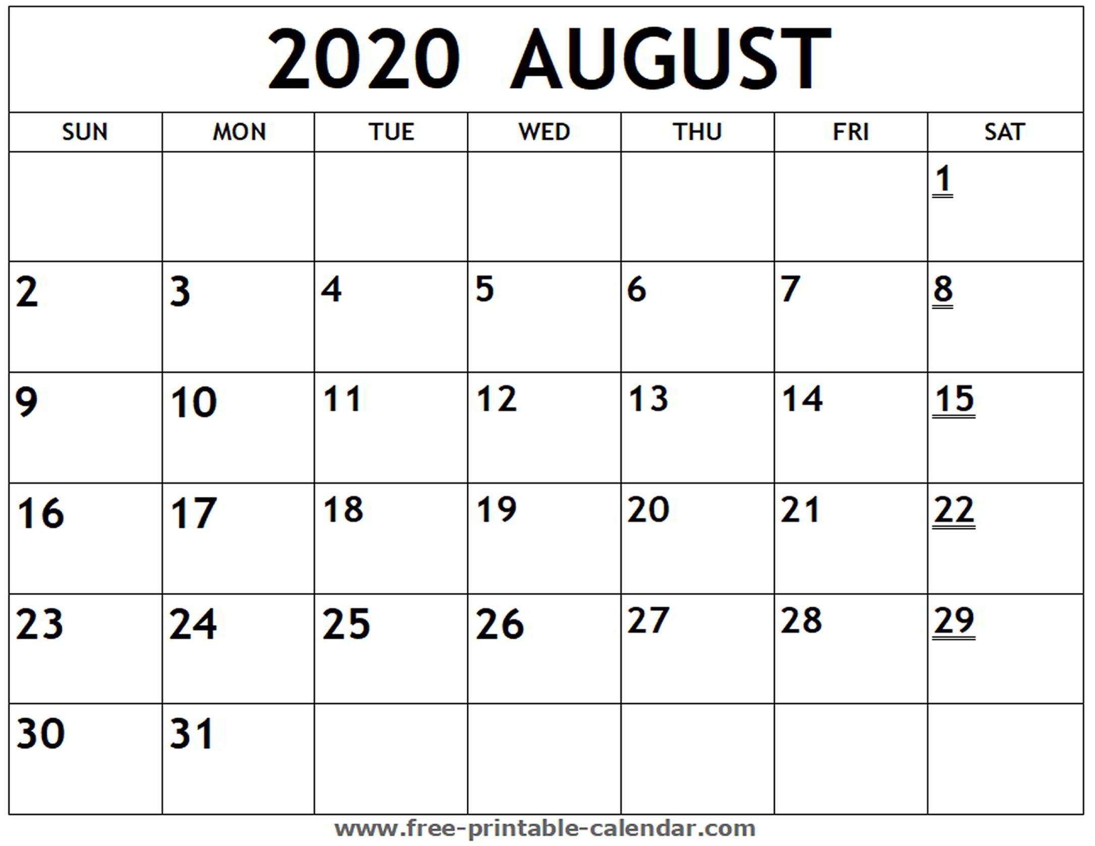 Printable 2020 August Calendar - Free-Printable-Calendar-Printable Blank Monthly Calendar 2020 August