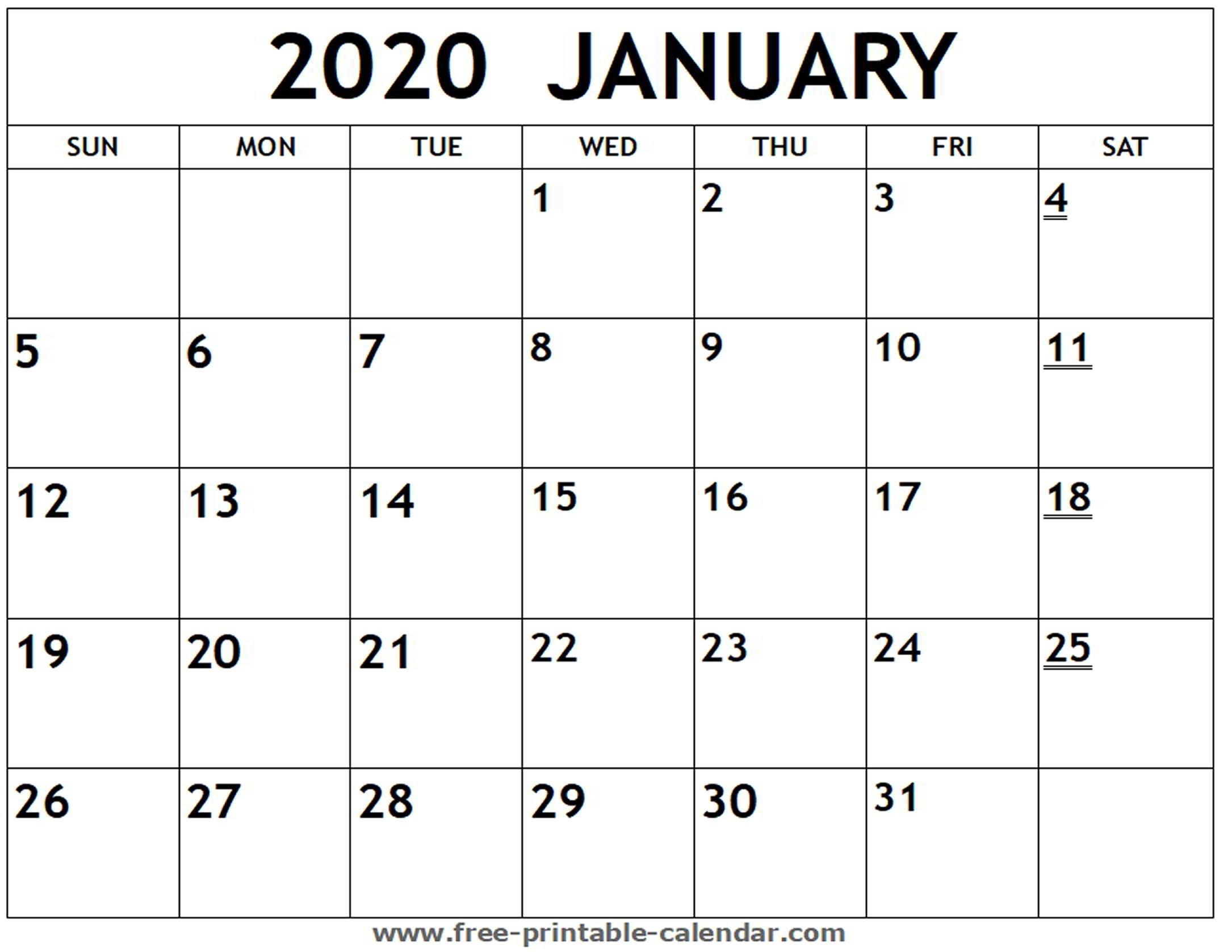 Printable 2020 January Calendar - Free-Printable-Calendar-Printable Monthly Calendar 2020