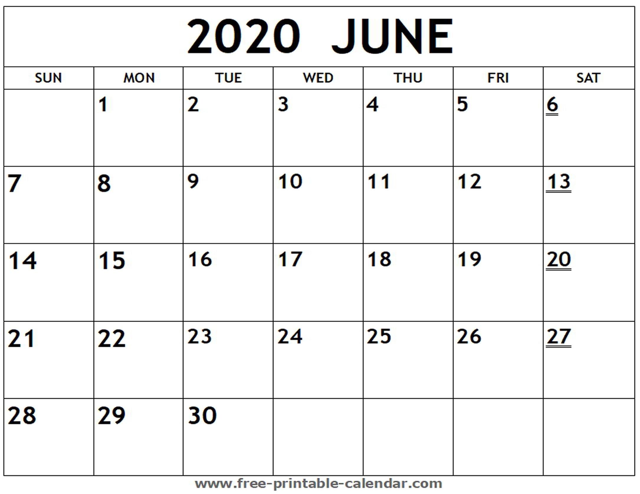 Printable 2020 June Calendar - Free-Printable-Calendar-Blank Calendar 2020 June July August