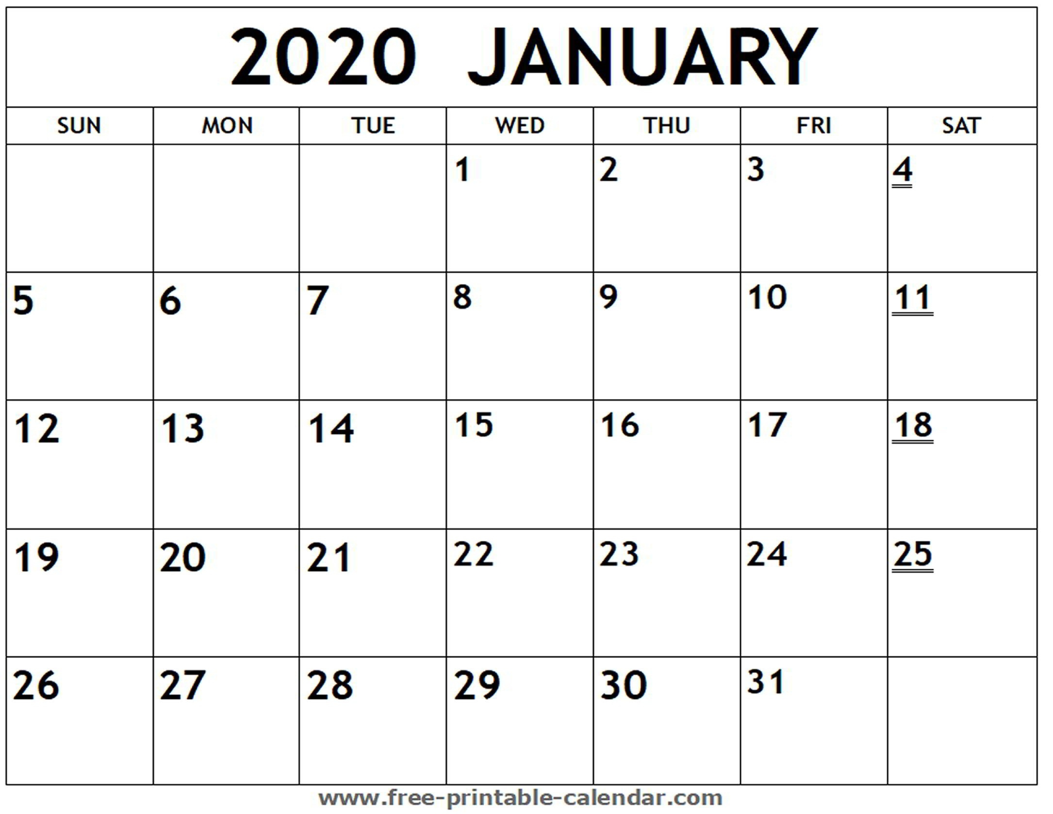 Printable 2020 Monthly Calendars - Wpa.wpart.co-Printable Calendar 2020 Monthly Bills