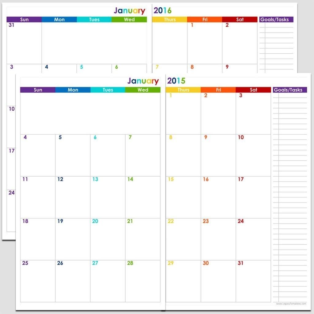 Printable 24-Month 2 Page Calendar – 2015 & 2016 – 5 1/2″ X-Printable Monthly Calendar 5X8