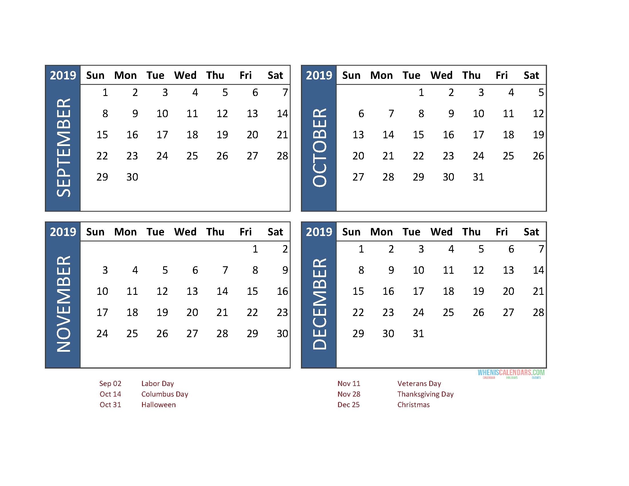 Printable 4 Month Calendar 2019 September October November-4 Month Calendar Template