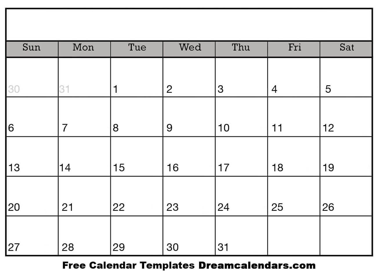 Printable Blank Calendar 2020 | Dream Calendars-Blank Calendar Page Printable