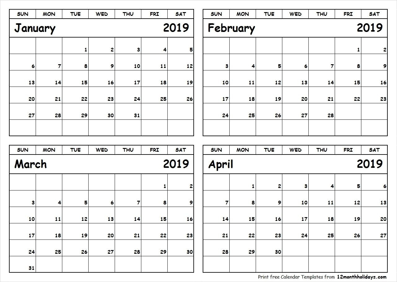 Printable Blank Four Month January February March April 2019-Blank 4 Month Calendar
