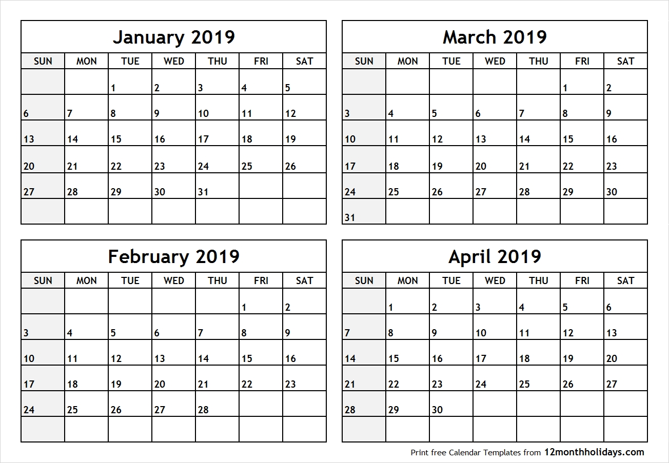 Printable Blank Four Month January February March April 2019-Printable Blank Four Month Calendar
