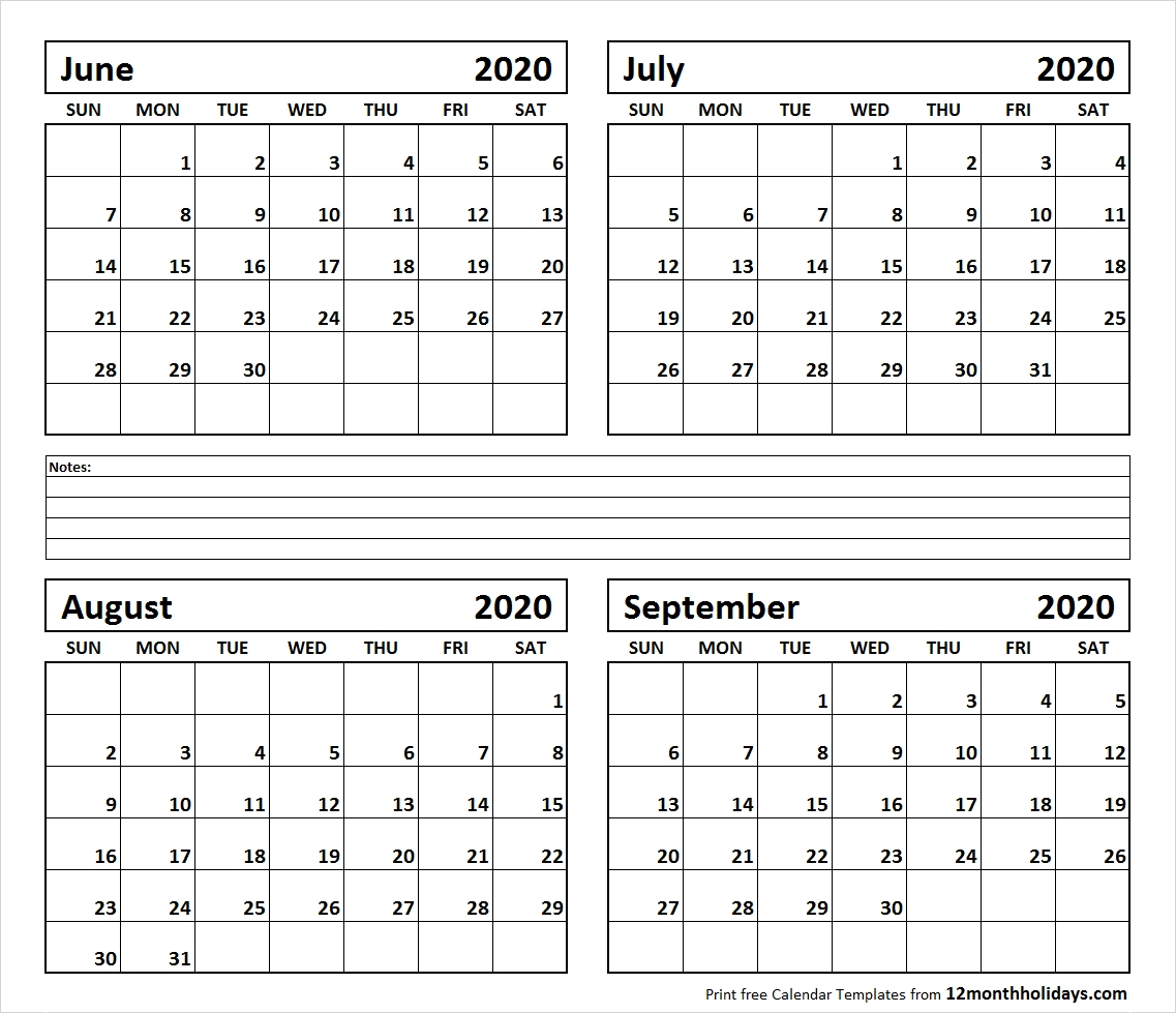 Printable Blank Four Month June July August September 2020-Monthly Calendar June July August 2020