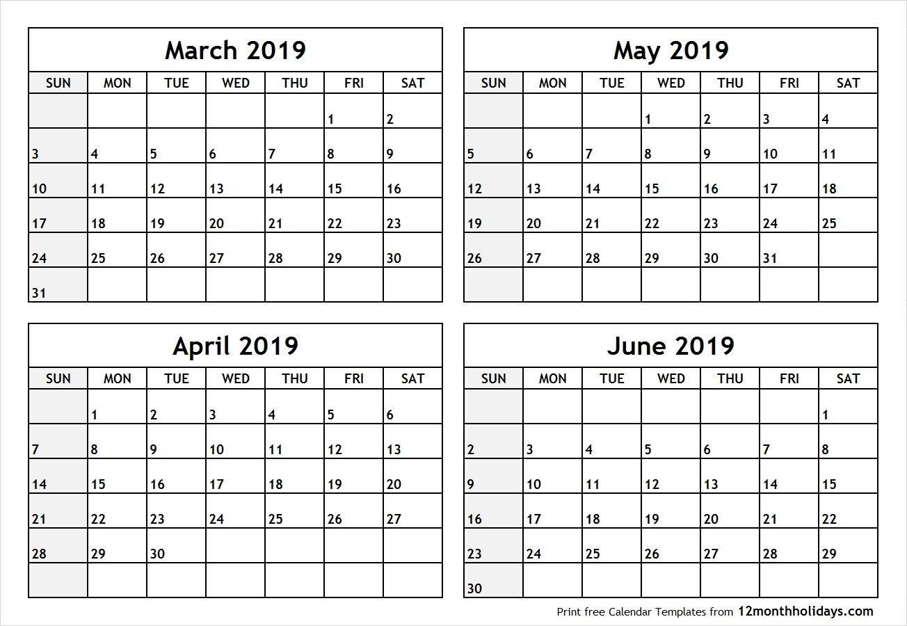 Printable Blank Four Month March April May June 2019-Printable 4 Month Calendar Template