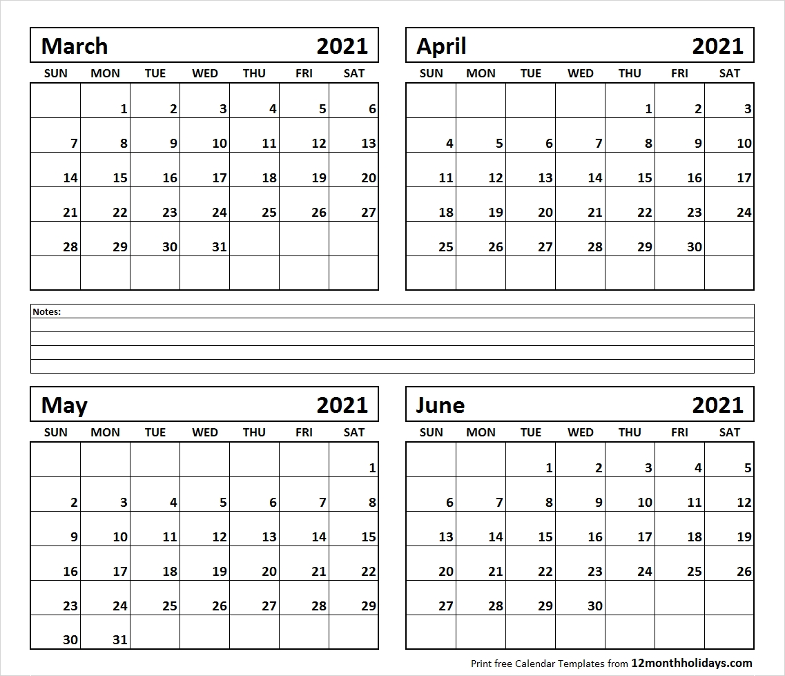 Printable Blank Four Month March April May June 2021-4 Month Blank Calander