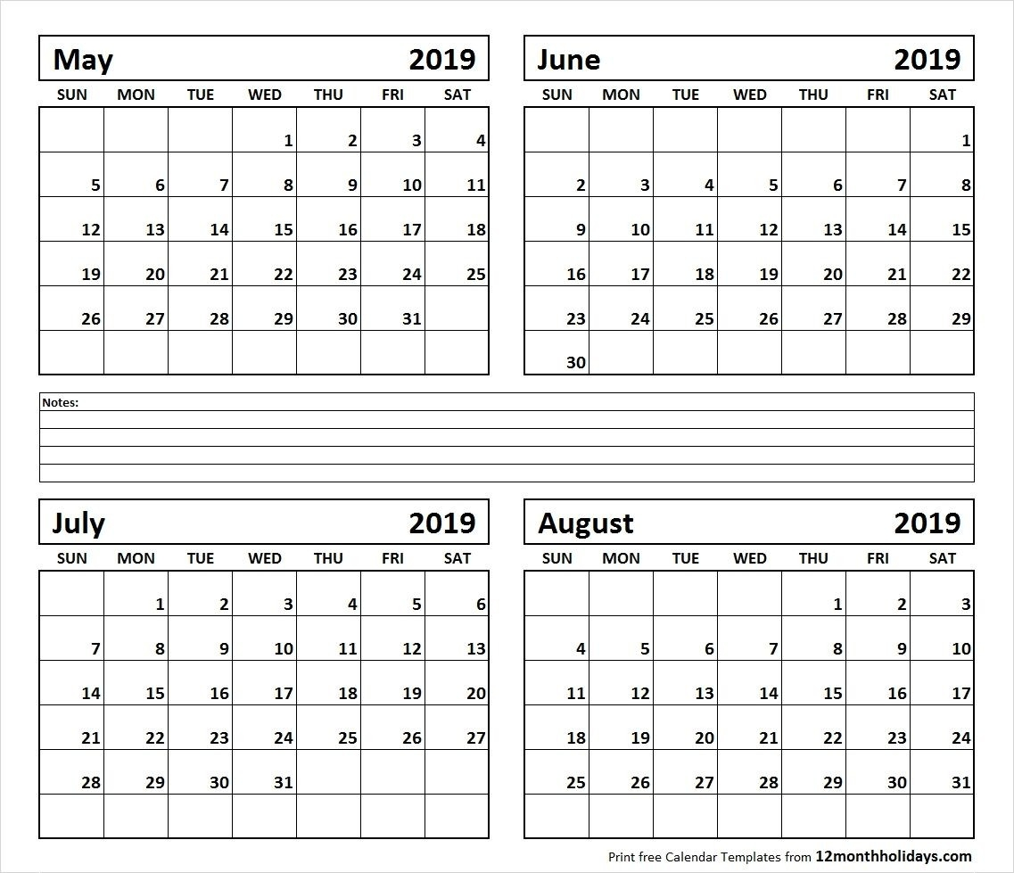 Printable Blank Four Month May June July August 2019-Printable Blank Four Month Calendar