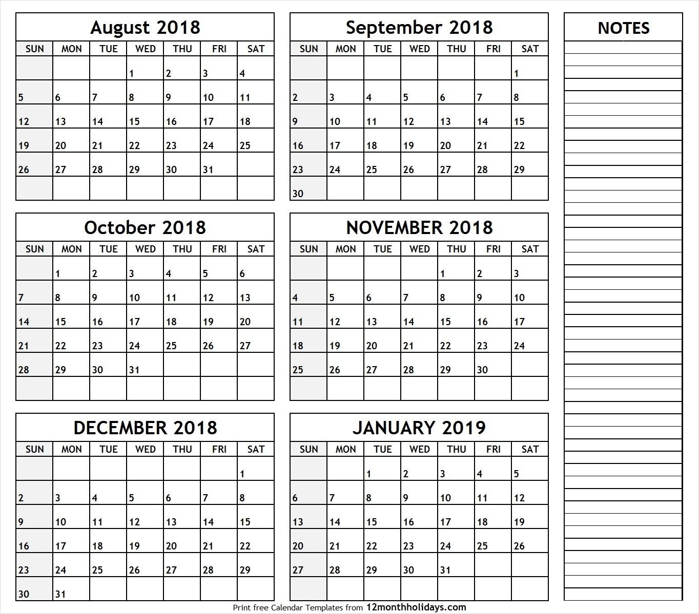 Printable Blank Six Month 6 Month Calendar August January-Blank Six Month Calendar Printable