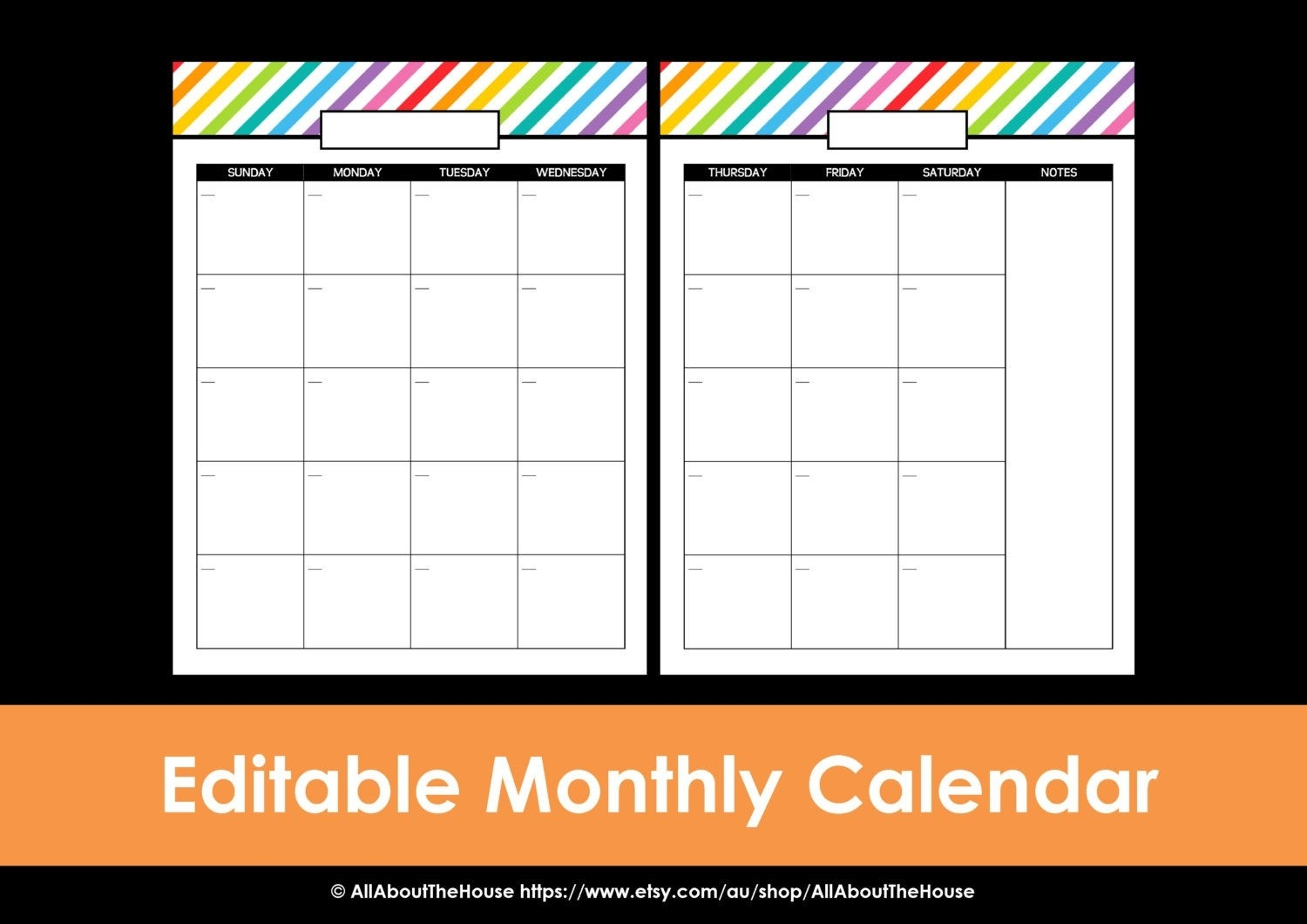 Printable Calendar 2 Page Monthly Calendar Printable Rainbow Perpetual  Editable Pdf Household Binder Planner 2016 2017 Daily Letter Organize-Printable Blank Monthly Calendar 2 Pages
