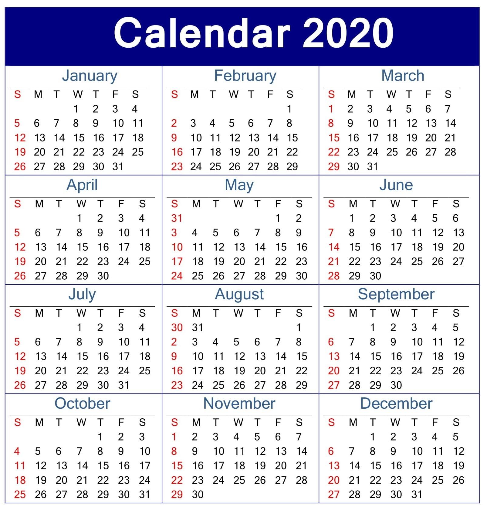 Printable Calendar 2020 Pdf Template – Free Latest Calendar-Print Blank Attendance Calendar 2020