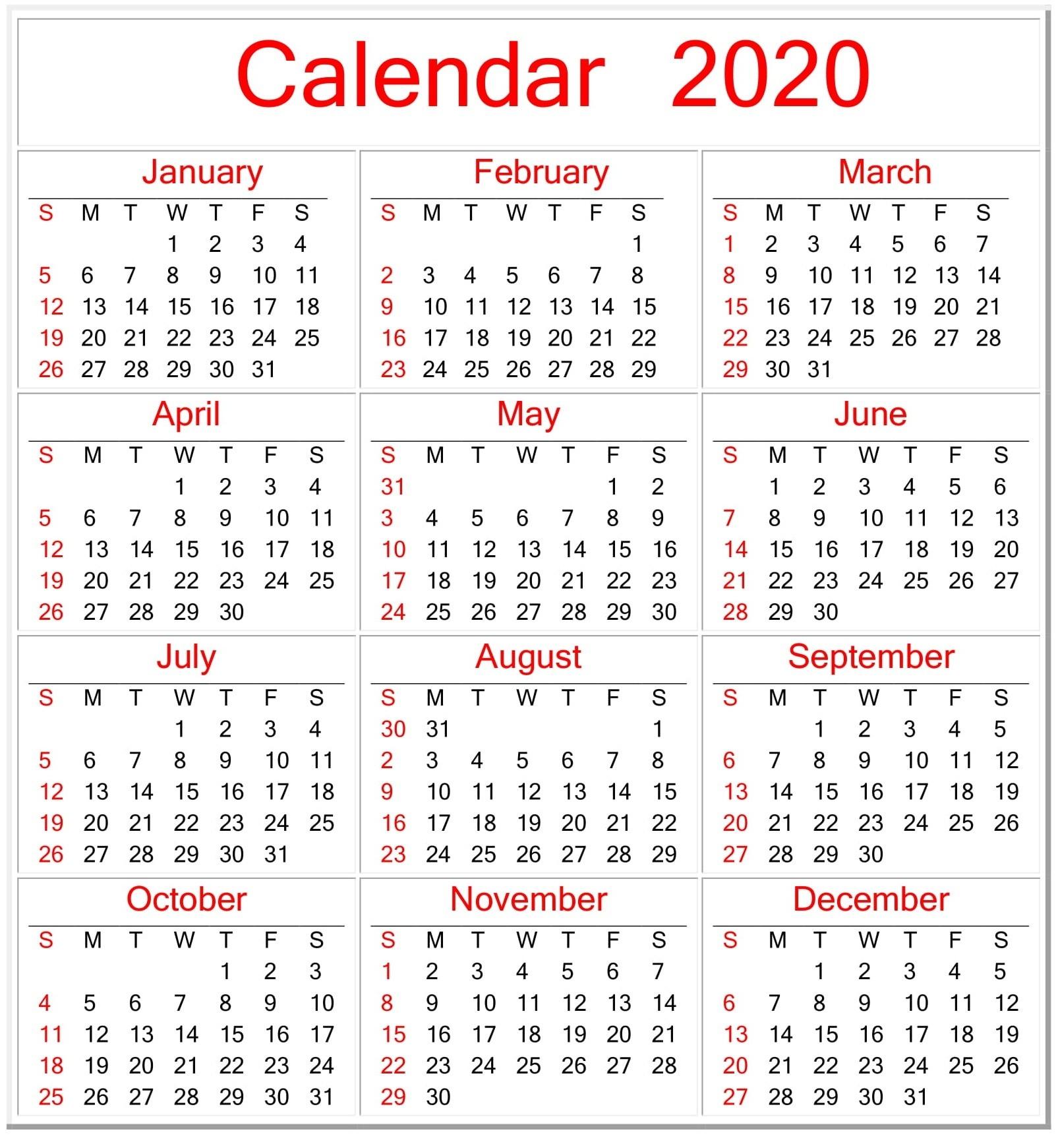 Printable Calendar 2020 Pdf Template – Free Latest Calendar-Printable Employee Vacation Calendar 2020 Template