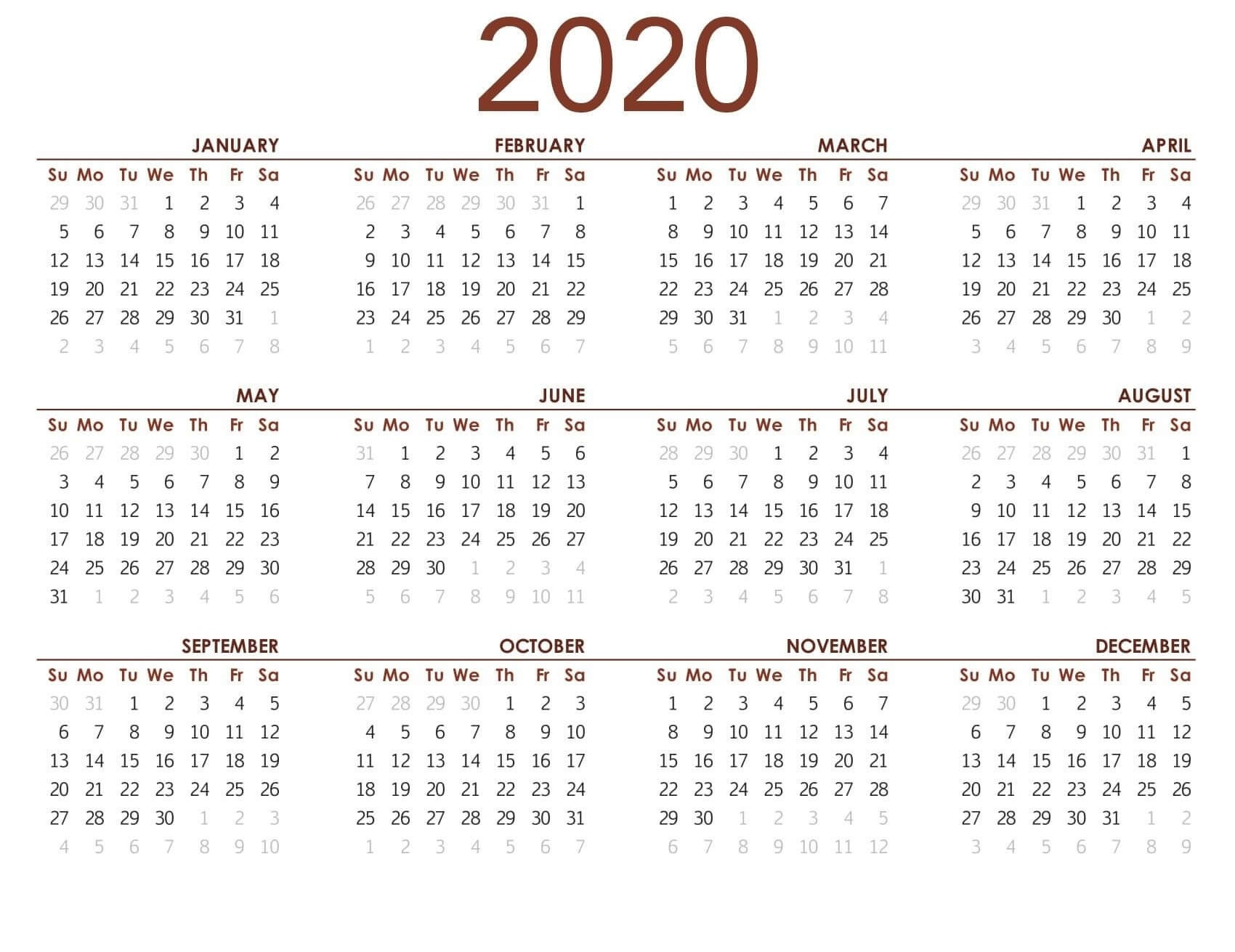 Printable Calendar 2020 With Notes - 2019 Calendars For-2020 Month At A Glance Calendar Template