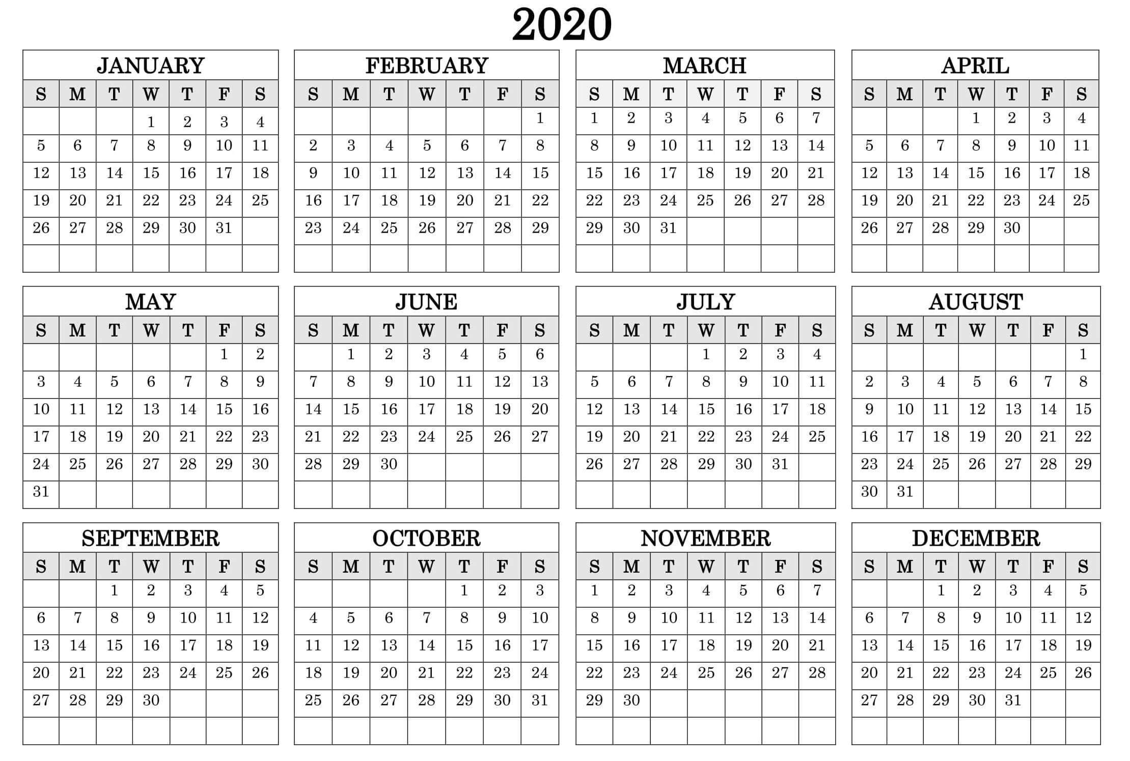 Printable Calendar Year 2020 Holidays Fillable Pdf - Set-12 Month At A Glance Fill In Template Calendar