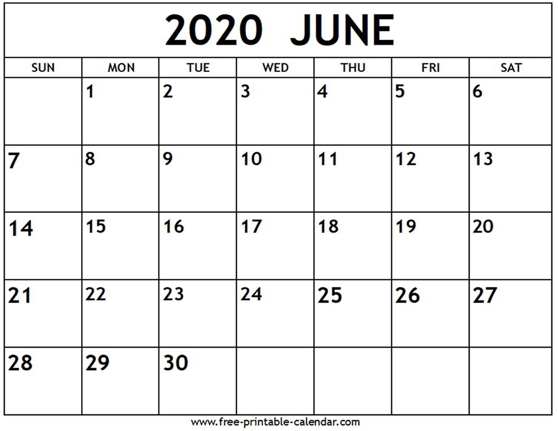 Printable Calendars June 2020 - Wpa.wpart.co-Monthly June 2020 Calendar