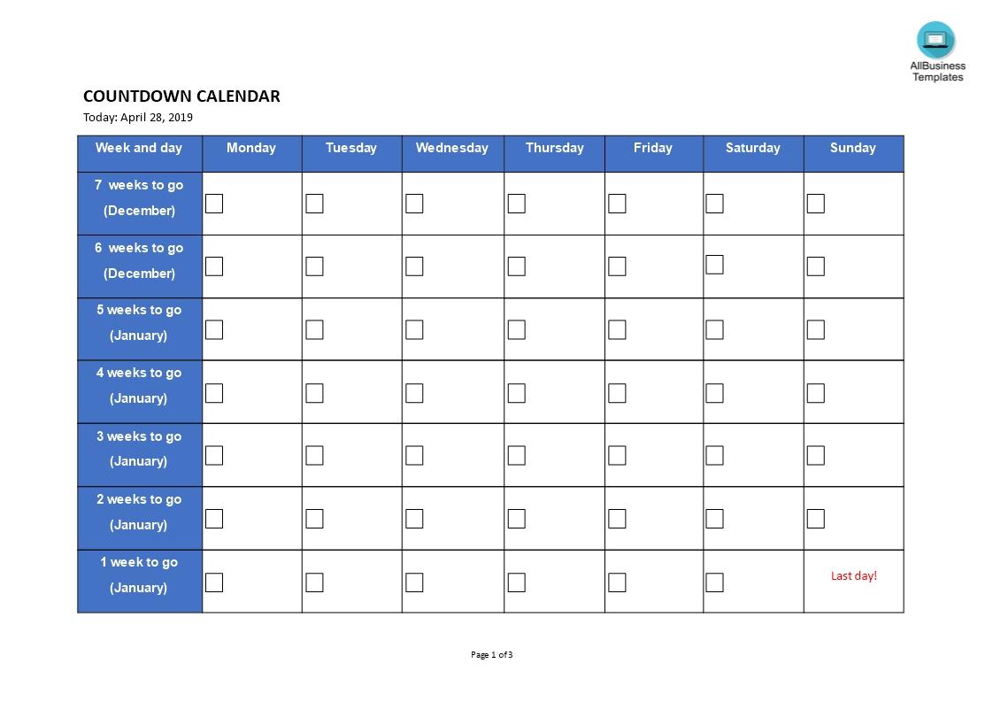 Printable Countdown Calendar | Templates At-Excel Template Countdown Calendar