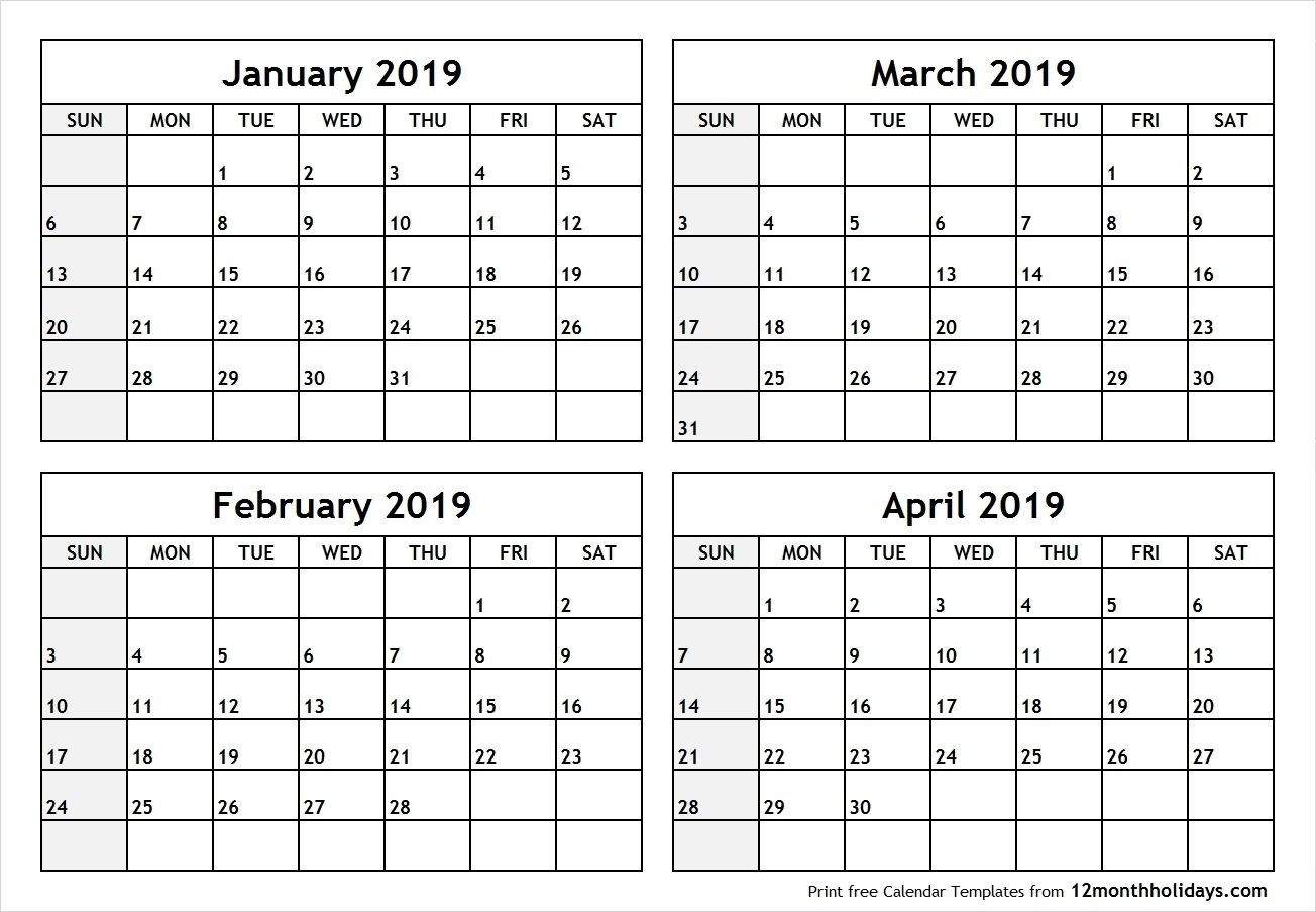 Printable Four Months Per Page 2020 Calendar | Example-4-Monthly Print Calendars Templates 2020 Multiple Months Per Page