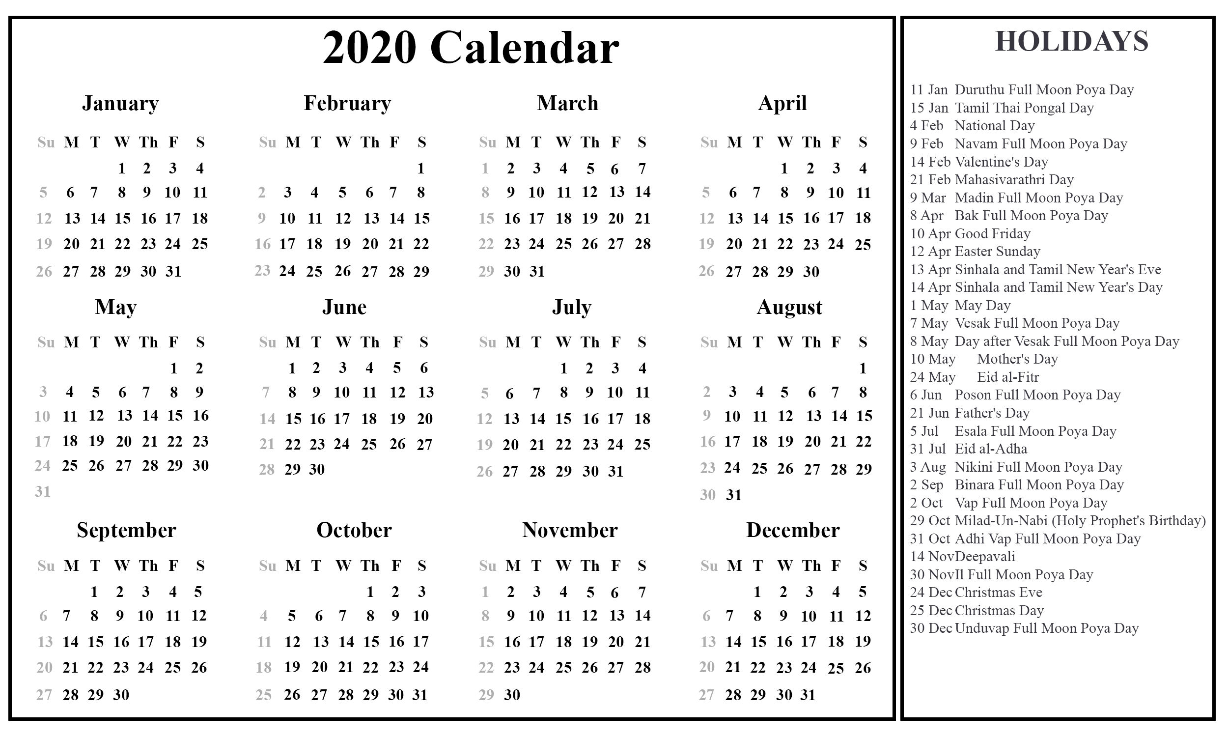 Printable Free Download Sri Lanka Calendar 2020 [Pdf, Excel-Excel List Of Holidays 2020