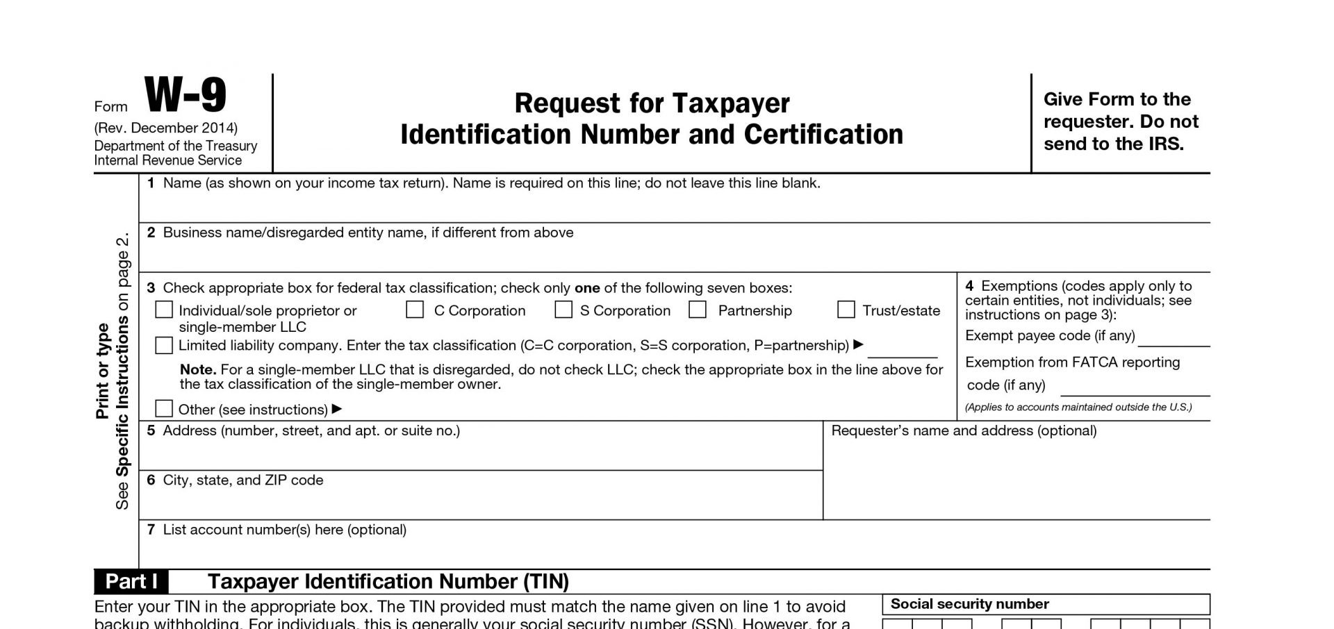Printable Irs W-9 Blank 2019 - 2020 For Free Use-Blank 2020 W 9