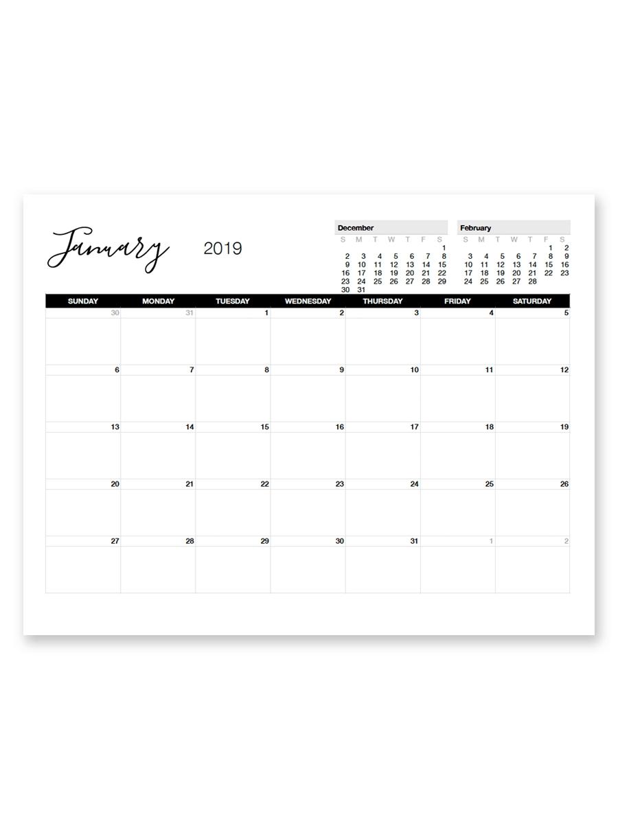 Printable January 2019 Calendar | Free Printable Calendar-Blank Monthly Calendar Printable 8.5 X 11