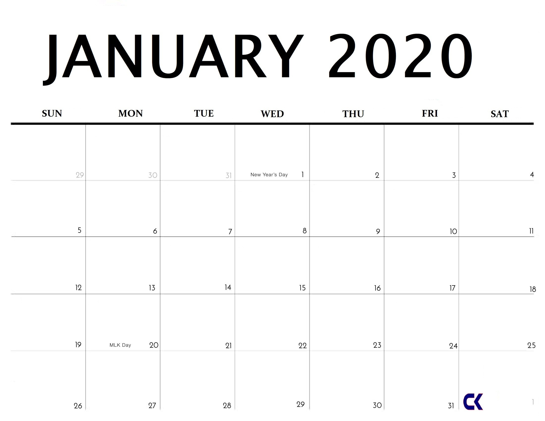 Printable January 2020 Calendar - Calendar-Kart-2020 Monday To Friday Schedule Template
