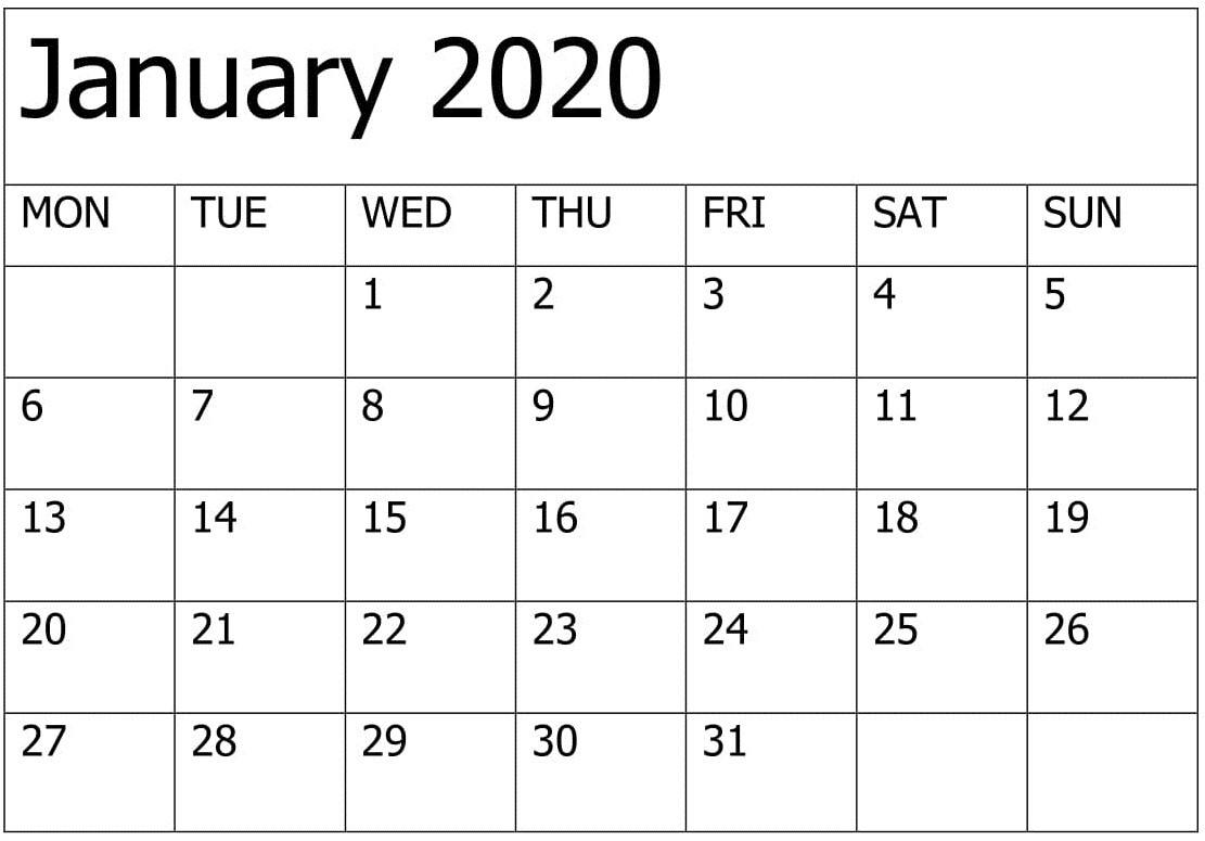 Printable January 2020 Calendar Editable Pages – Free Latest-2020 Calendar Template Fillable Pdf