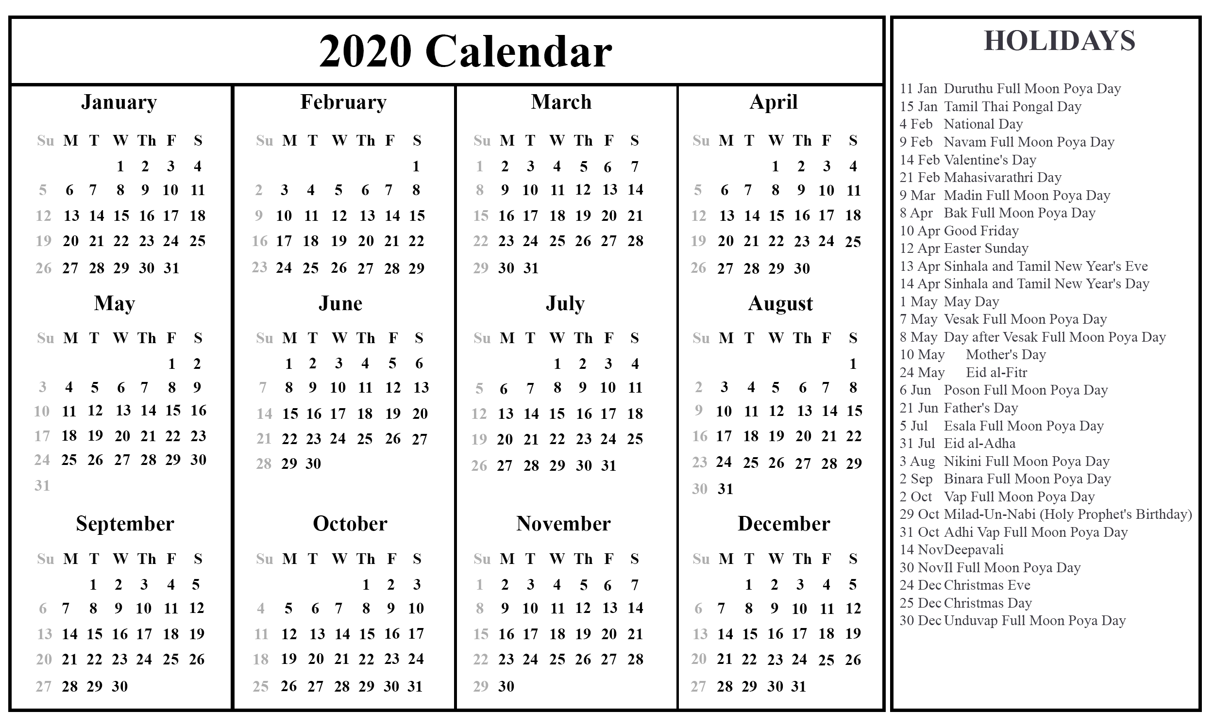 Printable July Calendar Template-2020 Calendar With Holidays Listed