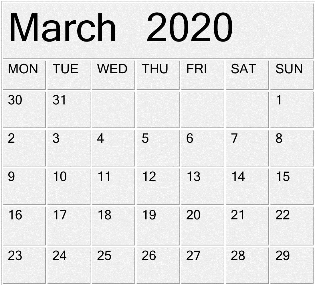 Printable March 2020 Calendar Free Pdf Template – Free-2020 Calendar With Holidays In Ghana