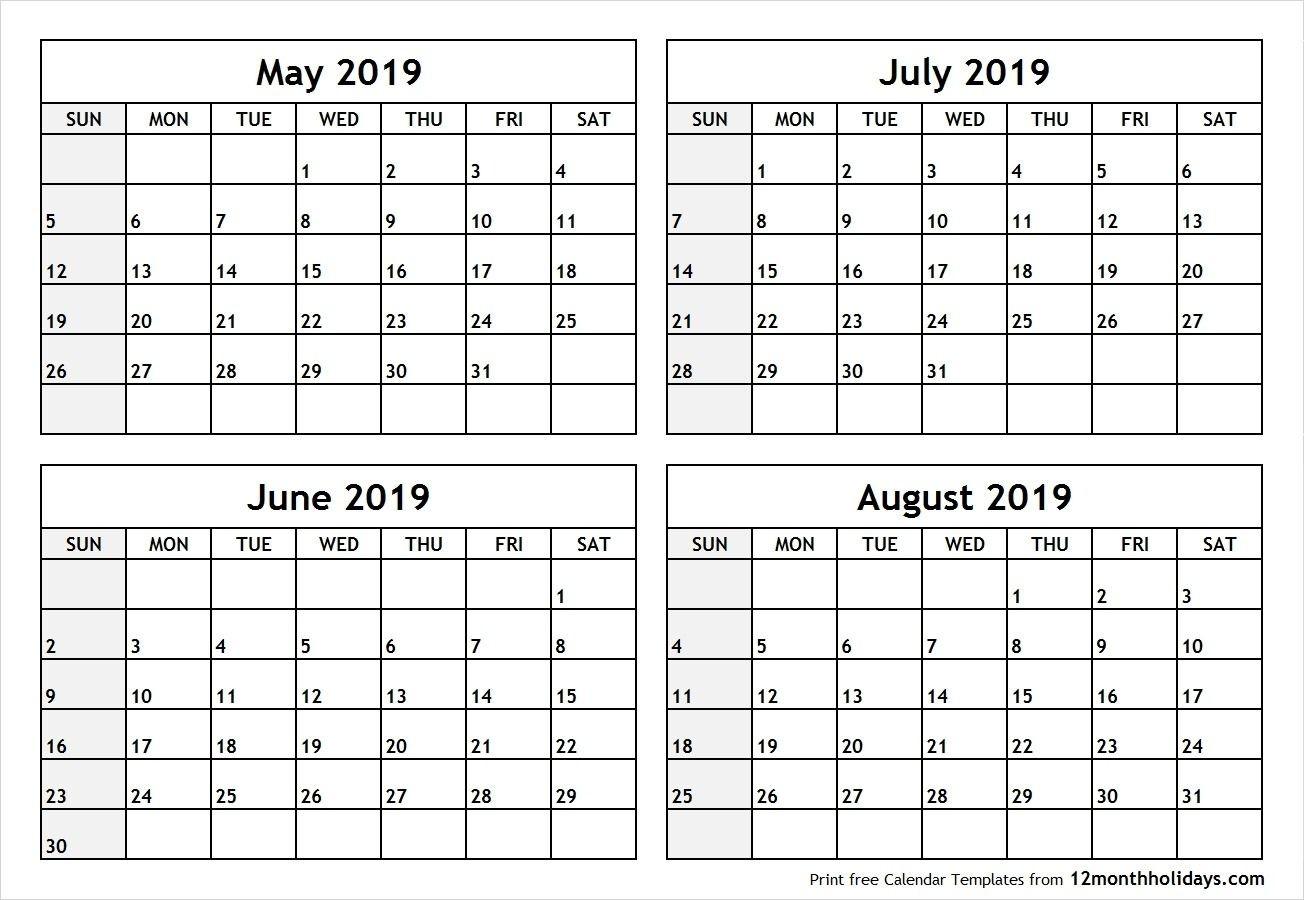 Printable May June July 2019 Calendar | Calendar March-Blank Calendar June July August