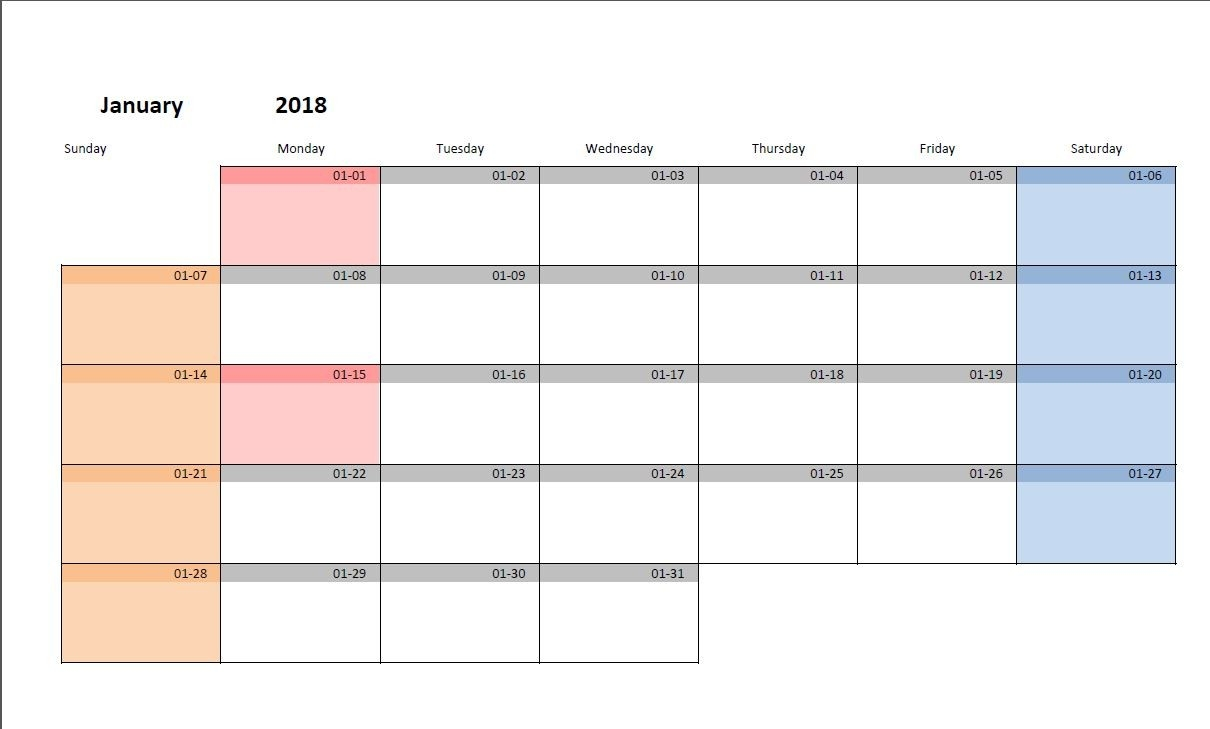 Printable Monthly Calendar Template For Excel | Excel-Malin-Blank Monthly Calendar Starting On Monday